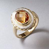 14k Two Tone 2.40 Cttw. Citrine Cocktail Ring