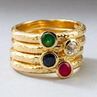 14k Vermeil 1.19 Cttw. Multi-gemstone Stack Ring
