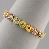 14k Vermeil 17.00 Cttw. Multi Gemstone Bracelet