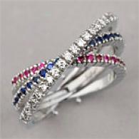 14k Wg .80cttw Ruby, Sapphire & Diamond Crossover