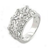 14k White Gold 0.16 Cttw. Floral Diamond Tingle