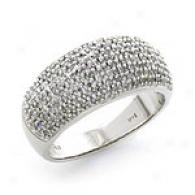 14k White Gold 0.50 Cttw. Pave Diamond Ring