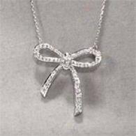 14k White Gold 0.55 Cttw. Diamond Bow Pendant