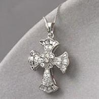 14k White Gold 0.6 Cttw. Diamond Cross Pendant