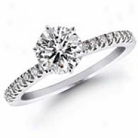 14k White Gold 0.64 Cttw Brilliant Engagement Ring
