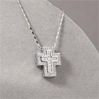 14k White Gold 0.70 Cttw. Diamond Cross Hanging appendage