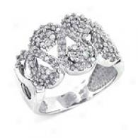 14k White Gold 0.74 Ctw. Pave Diamond Swirl Ring