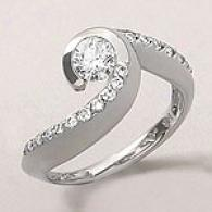 14k White Golld 0.75 Cttw. Diamond Swirl Ring