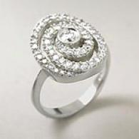 14k White Gold 0.87 Cttw. Diamond Multi Swirl Ring