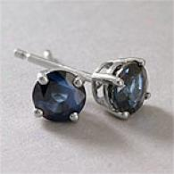 14k White Gold 0.98 Cttw. Sapphire Stud Earrings