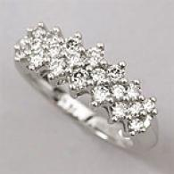 14k White Gold 1.00 Cttw. Diamond Triple Row Ring