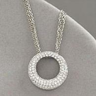 14k White Gold 1.00 Cttw. Diamond Circle Pendant