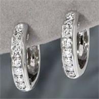 14k White Gold 1.02 Cttw. Diamond Hoop Earrings