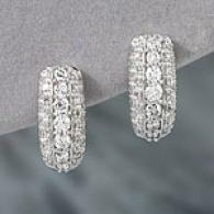 14k White Gold 1.04 Cttw. Diamond Hug Earrings