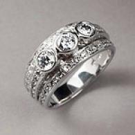 14k White Gold 1.23 Cttw. 3 Stone Diamond Ring