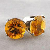 14j White Gold 1.30 Cttw. Citrine Stud Earrings