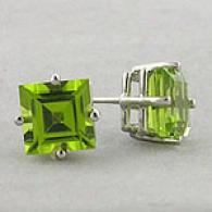 14k White Gold 1.45 Cttw. Peridot Stud Earrings