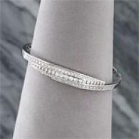 14k White Gold 1.55 Cttw. Brilliant Bangle Bracelet