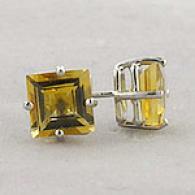 14k White Gold 1.65 Cttw. Citrine Stud Earrings