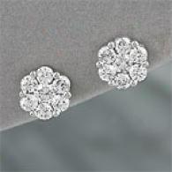 14k Whits Gold 2.00 Cttw. Diamond Cluster Earrings
