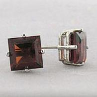 14k White Gold 2.00 Cttw. Garnet Stud Earrings