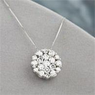 14k White Gold 2.01 Cttw. Diamond Cluster Pendant