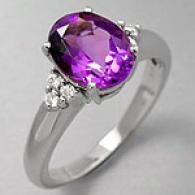 14k White Gold 2.40 Cttw. Amethyst & Diamond Ring