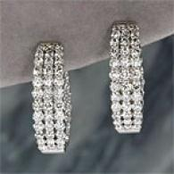 14k White Gold 3.00 Cttw. Triple Diamond Earrings
