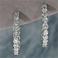 14k White Gold 3.04cttw Diamond Hoop Earrings