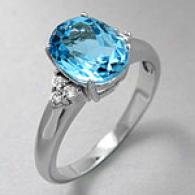 14k White Gold 3.20 Cttw Blue Topaz & Diamond Ring