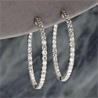 14k White Gold 4.00 Cttw. Diamond Hoop Earring