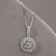 14k White Gold .74 Cttw. Diamond Cluster Pendant