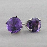 14k Pale Gold & Amethyst Stud Earrings