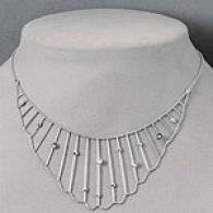 14k White Gold Diamond Bib Necklace