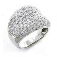 14k White Gold Domed 2.88 Cttw. Round Diamond Ring