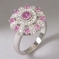 14k White Gold Pink Blue & Diamond Ring