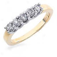 14k Yellow Gold 0.50 Cttw. Diamond Ring - Size 6.5