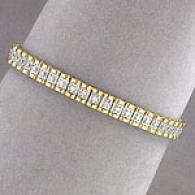 14k Yellow Gold 1.0 Cttw. Diamomd Link Bracelet