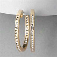 14k Yellow Gold 1.0 Cttw. Round Diamond Hoops