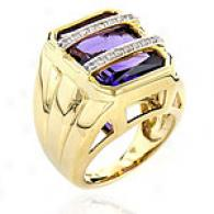 14k Golden Gold 1/10 Ct. Amethyst & Diamond Ring