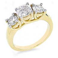 14k Golden Gold 1/2 Ct. 3-stone Diamon dRing