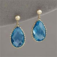 14k Yellow Gold 12.20 Cttw. Blue Topaz Earrings