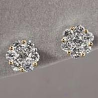 14k Yellow Gold 1.51 Cttw Diamond Cluster Earrings