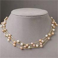 14k Yellow Gold -4strand Polyester Pearl Necklace