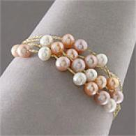 14k Yellow Gold 4-strand Multicolor Pearl Braceoet