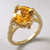 14k Yellow Gold 4.71cttw. Citrine & Diamond Ring