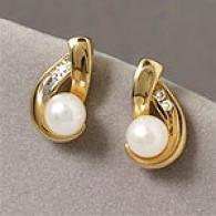 14k Yellow Gold 6jm Pearll Diamond Earrings