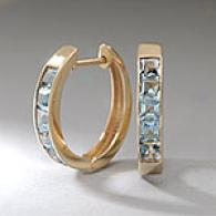 14k Yellow Gold & Blue Topaz Huggie Earrings