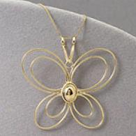 14k Golden Gold Butterfly Pendant With 18