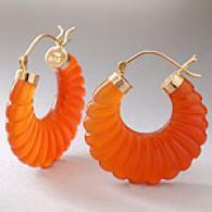14k Yellow Gold Cranelian Scallop-shaped Earring